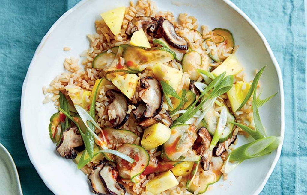 Vegan pineapple and mushroom fried rice