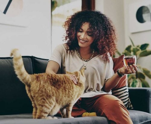 Woman with a cat drinking tea