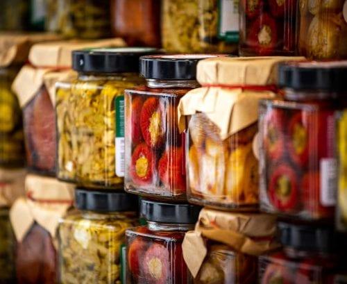 Jars of pickled fermented food