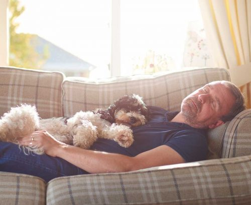Older man napping on the couch with his dog