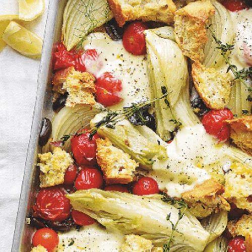 Med-style tray bake with mozzarella