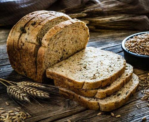 Sliced grainy bread loaf