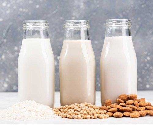 rice, soy and almond milks