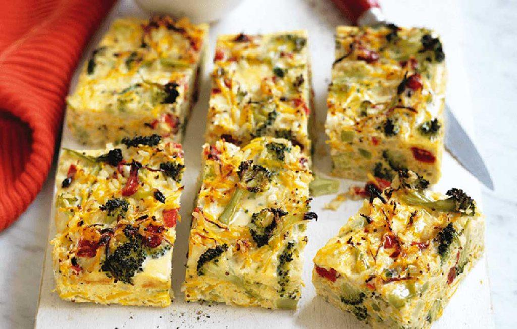 Broccoli, squash and roasted capsicum crustless quiche