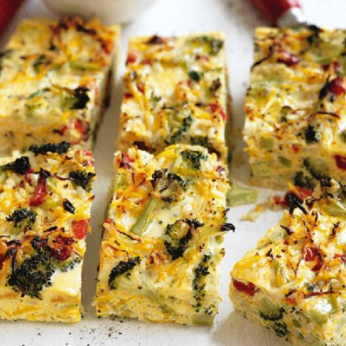 Broccoli, squash and roasted capsicum crustless quiche