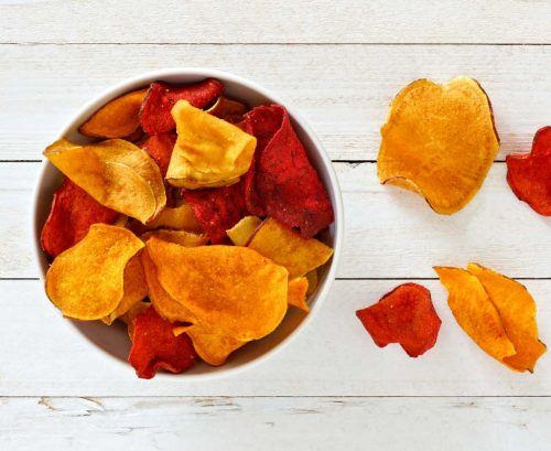 Bowl of colourful chips