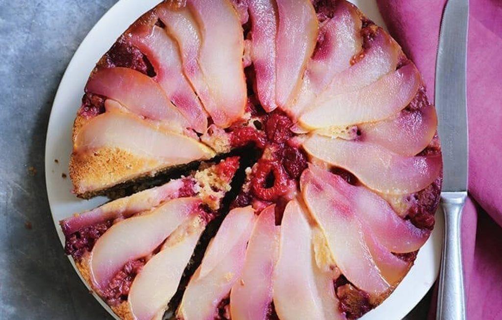 Pear and raspberry upside-down cake