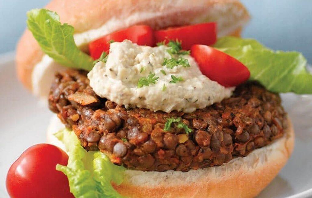 Vegetarian lentil burgers with hummus