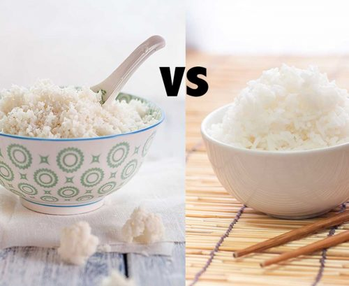 A bowl of cauliflower and rice and a bowl of white rice