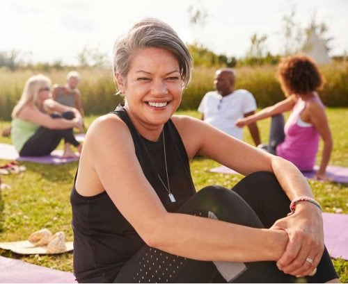 Smiling woman after yoga
