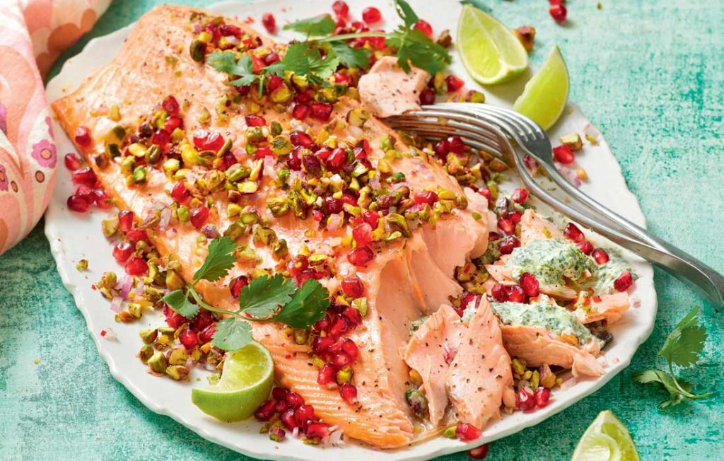 Baked salmon with pistachio and pomegranate