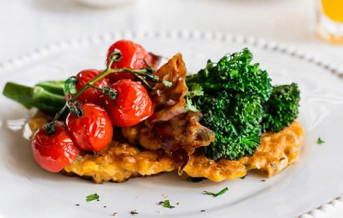 Sweetcorn fritters with broccolini