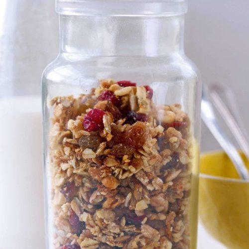 Hazelnut and cranberry granola