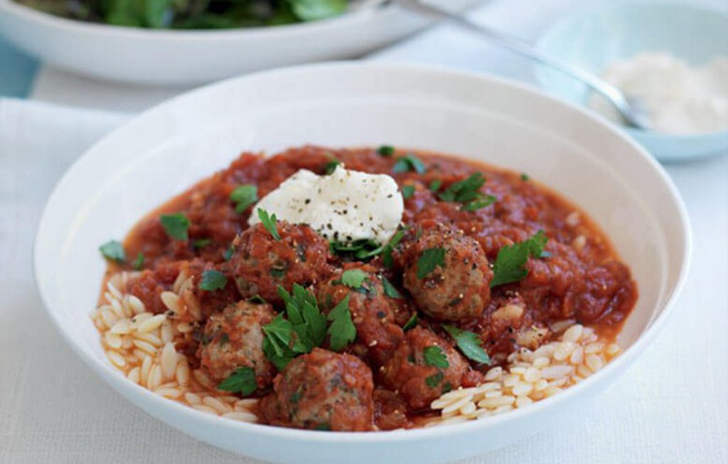 Meatballs with orzo pasta