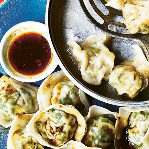 Bok choy and kale dumplings