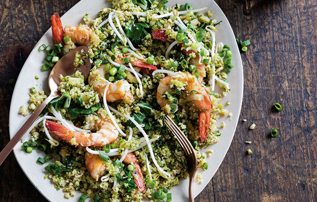 Prawn and courgette fried cauliflower 'rice'