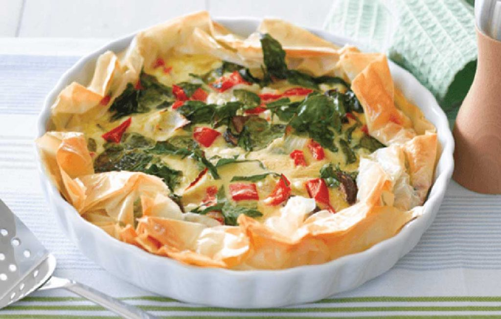 Quiche made healthier, with new potatoes and salad