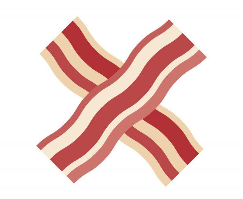 A cartoon X made of bacon