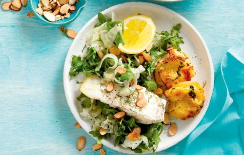 Crunchy smashed potatoes with fish and fennel