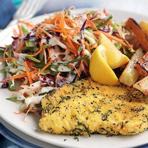 Herb-crumbed chicken with baked potato chips