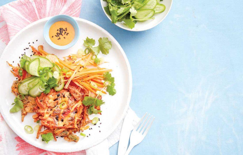 Okonomiyaki with salad
