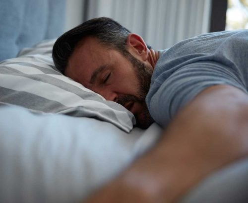 Sleeping middle-aged man