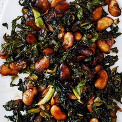 Sticky kale and butter beans with balsamic vinegar