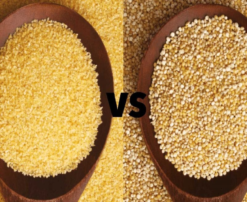 A spoonful of coucous and a spoonful of quinoa side by side