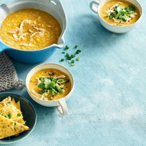 Chicken and corn soup with Asian omelette