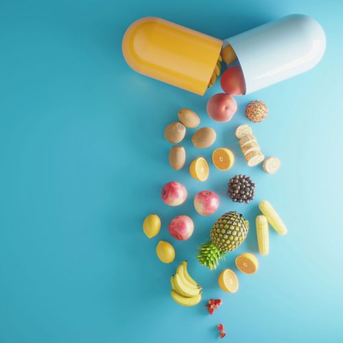 Capsule spilling out fruit and vegetables