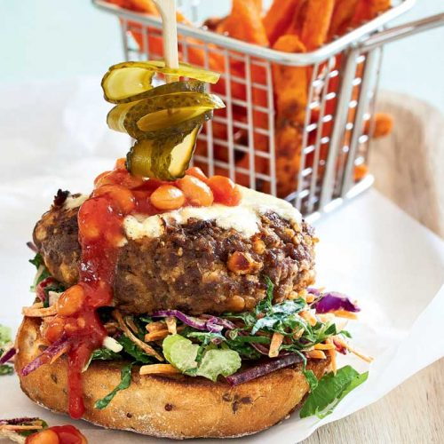 Openbeef and bean burgers