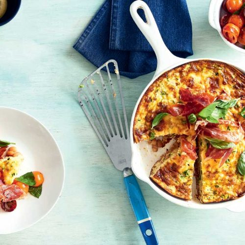 Prosciutto and baked bean breakfast frittata with tomato salsa