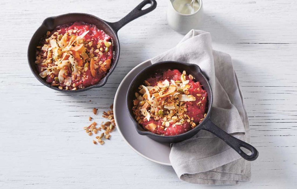 Rhubarb and red apple crumble