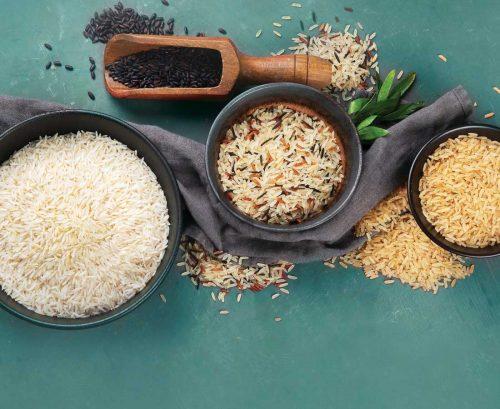 white rice, black rice, wild rice and brown rice