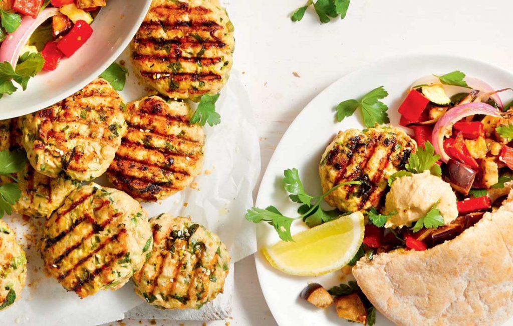 Chicken patties with dukkah-spiced veggies
