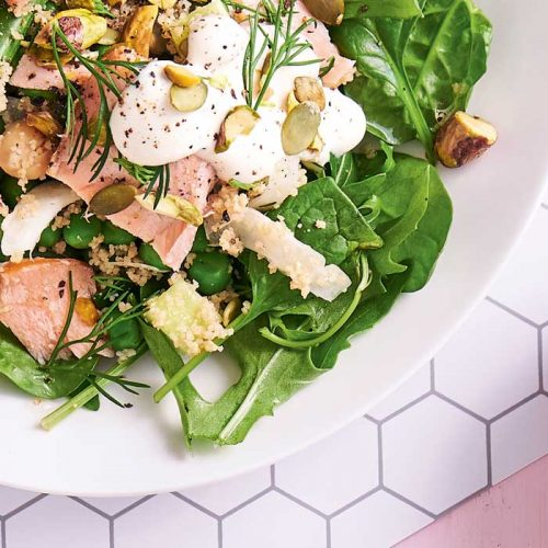 Chickpea couscous with horseradish yoghurt and smoked salmon