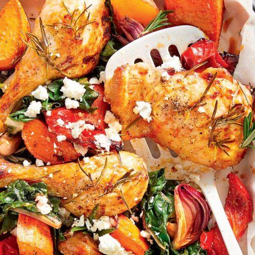 Garlic and rosemary chicken tray bake