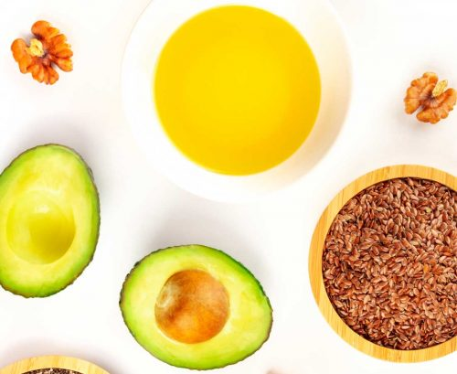 Plant-based omega-3 rich foods: avocado, canola oil, flax seeds and walnuts