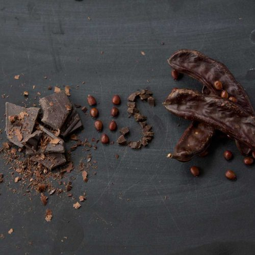 cocoa nib and chocolate next to carob pods with a vs made out of seeds and nibs
