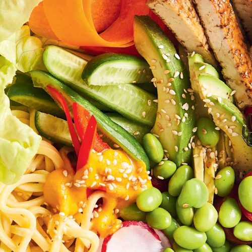 Japanese-style tofu salad with carrot and miso dressing