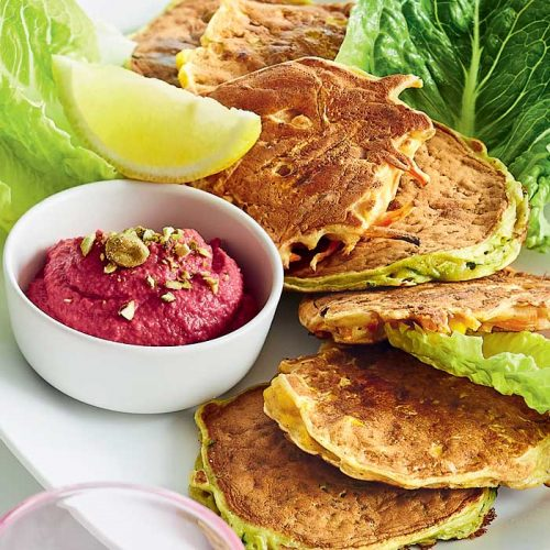 Mixed veggie fritters with beetroot and pistachio hummus
