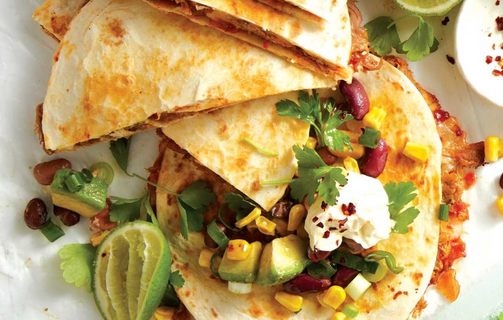 Spicy quesadilla with toasted corn salsa
