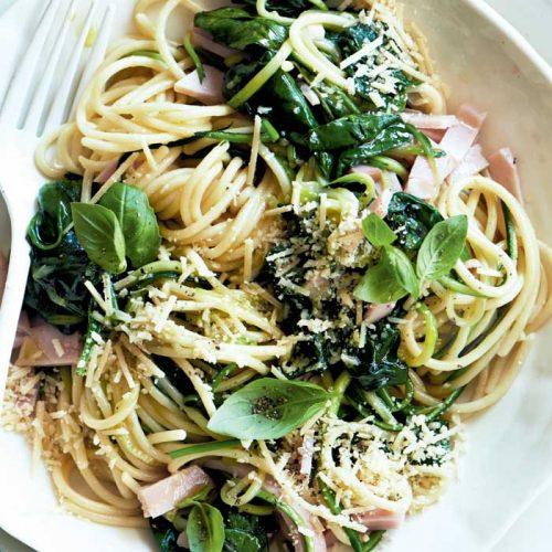 Speedy spinach and ham linguine