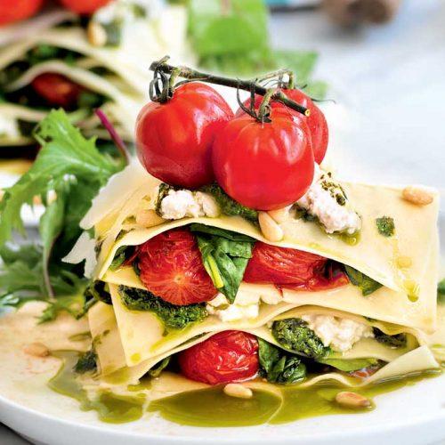 Tomato and ricotta lasagne stack