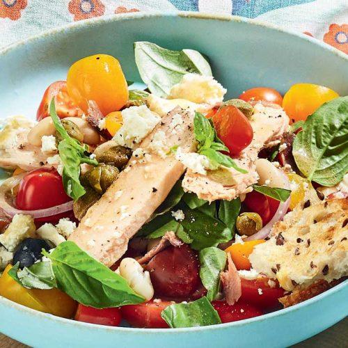 Tuna, tomato and feta panzanella salad