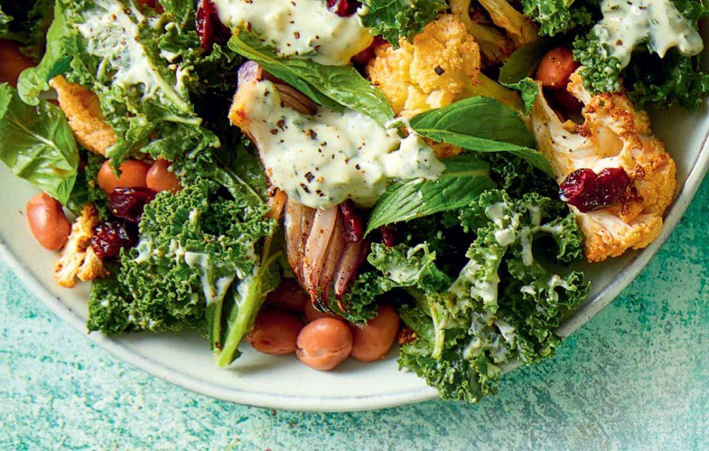 Roast cauliflower and borlotti bean salad
