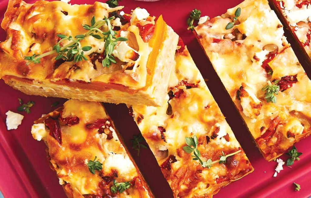 Cheesy pumpkin and noodle slice