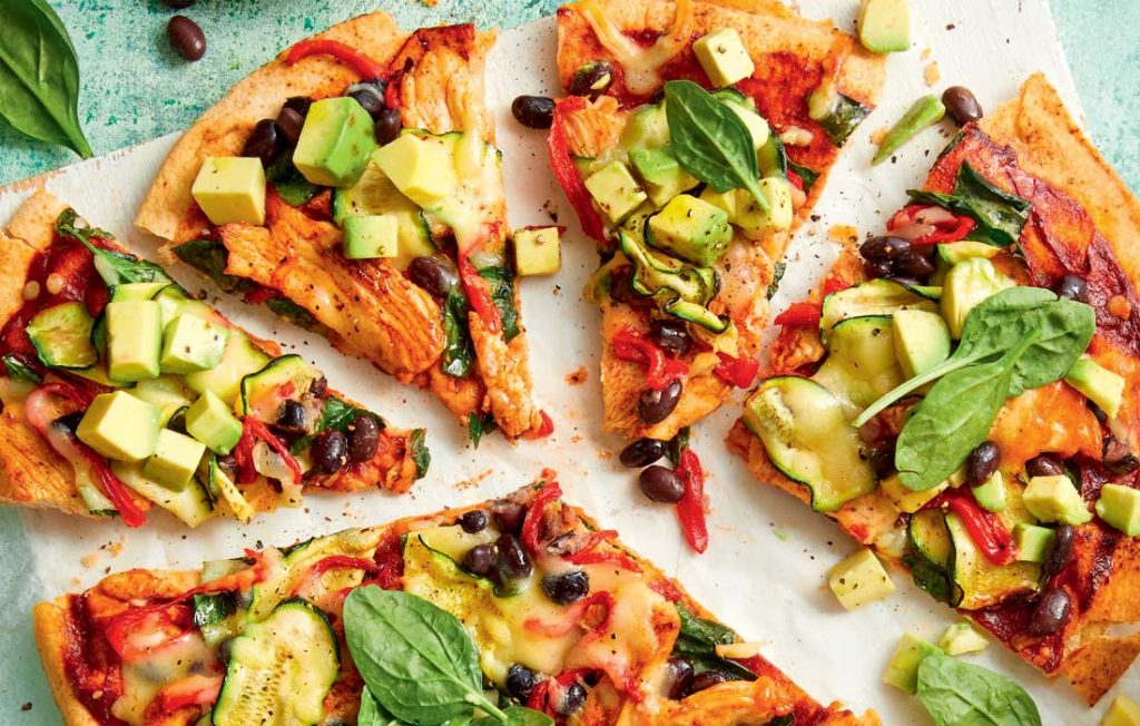 Chicken, black bean and roasted pepper pizza