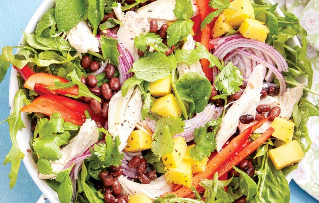 Chicken, black bean and mango salad