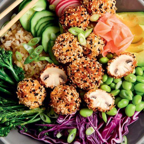 Crispy sesame-crusted mushroom bowl